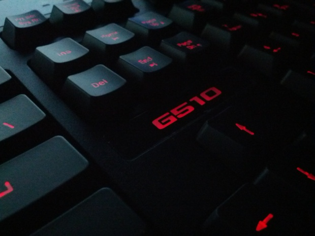 Logitech G510 Gaming Keyboard in all it's backlit glory