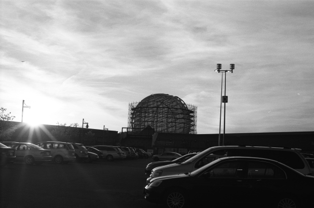 A silhouette of the Erin Mills Town Centre undergoing reconstruction.