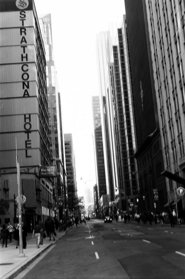 Strathcona Hotel along York Street.  Handheld shot + slower than anticipated shutter = blurry shot.