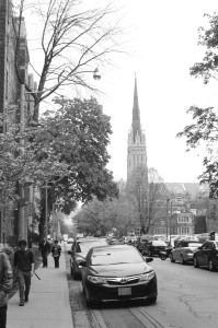 Black and White photo of St. Michael's Cathedral in Toronto, Canada.