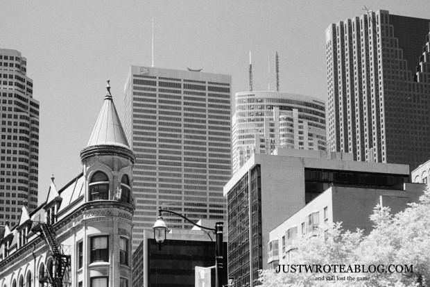 The Gooderham Building has spectacular views of the Toronto Skyline.