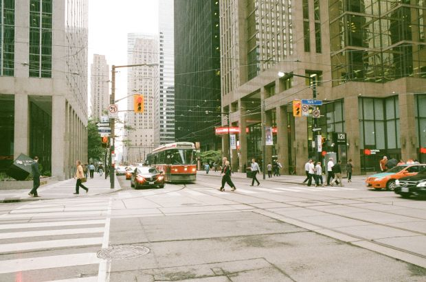 Streetcars are so common, making them a great test subject.  This one is at King and York Streets.