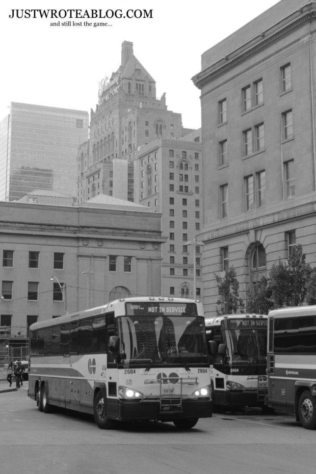 A GO Commuter Bus Entering the Union Bus Terminal