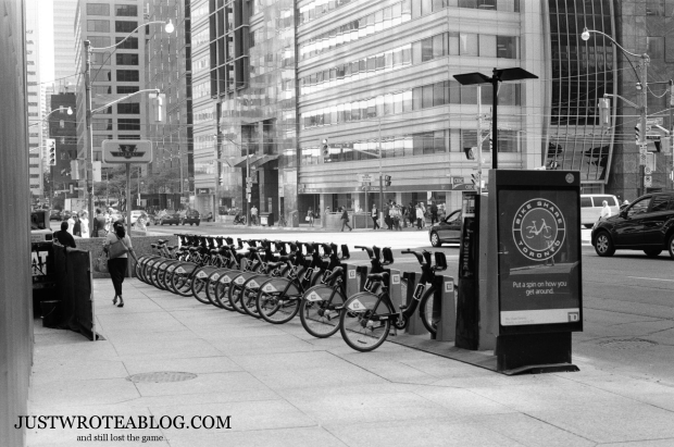 Bikeshare stand near King St. and University Ave.
