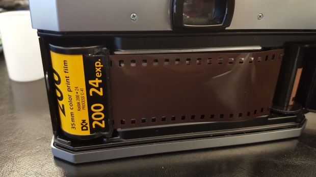 Kodak Gold 200 being loaded into my Pentax K1000.