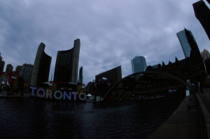 Obviously underexposed.  Nathan Philips Square / Pan Am Central (Velvia 50, 14mm, F32, 1/30)