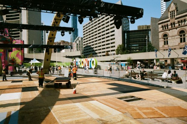 Nathan Phillips Square getting prepped for the Para PanAm closing ceremonies.