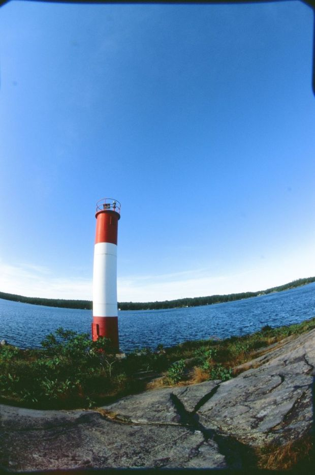 Lighthouse trail, Killbear Provincial Park. (12-14mm on my digital fisheye - you can see the barrel of the lens.)