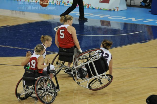 It was difficult watching these players take a flip on a wheelchair. As painful as it looks, the players quickly picked themselves up and continued as if nothing happened.