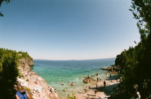 The Georgian Bay shoreline seen from Bruce Peninsula National Park. (Fuji Superia 200, Pentax Fisheye Zoom at 17mm, F32, 1/30)