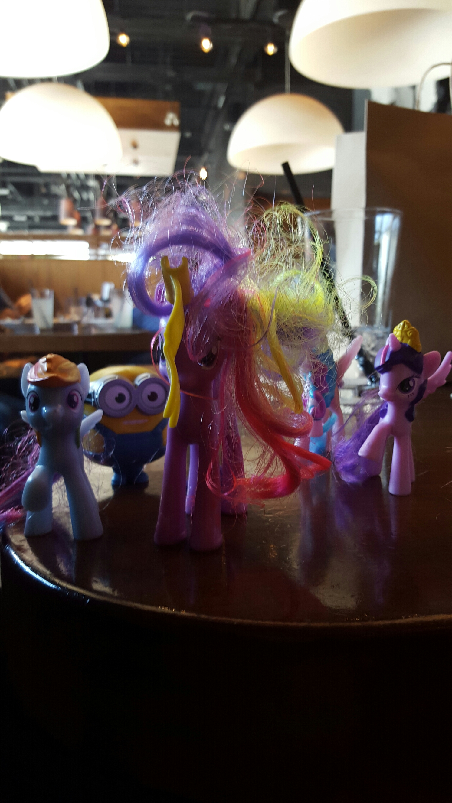 My god-daughter's collection of My Little Ponies, and a Minion.
