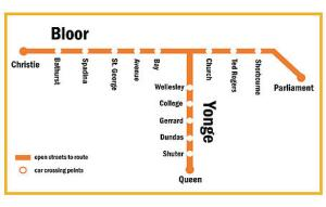 A map of the subway stations that are accessible to Open Streets Toronto.