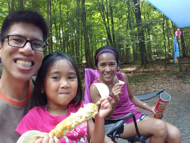 """CORN! FINALLY IN SEASON!"" A selfie with my god daughter and my girlfriend at Charleston Lake"