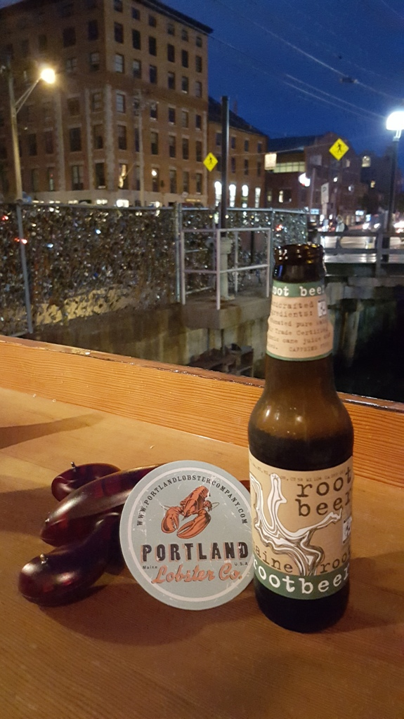 "A view of the ""Love Lock"" by the Portland Lobster Co. Locally made soda and a unique plastic lobster that lights up when your food is ready."