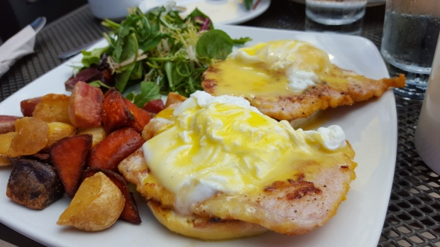 Hey Lucy's Classic Eggs Benedict, prepared soft.
