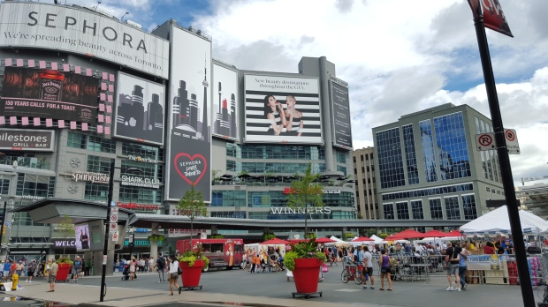 Yonge Dundas Square had a pretty nice turn out while Open Streets Toronto was running.