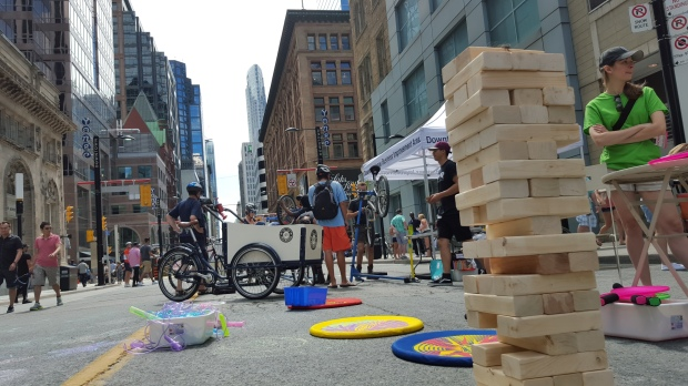 While you have your free bike safety check, you can play with the soft frisbees, draw on the street with chalk or play some JENGA!!