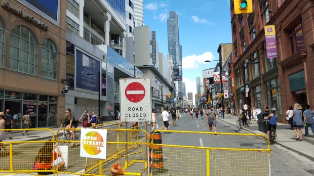 Road Closed! Yonge Street, looking north from Shuter Street.