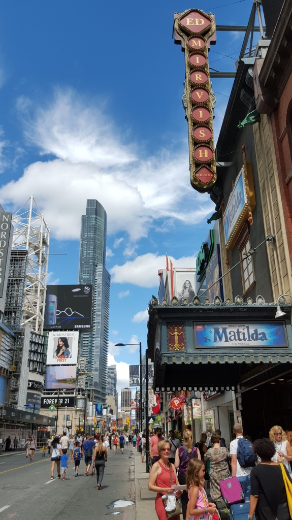 The Ed Mirvish Theatre and the Eaton Centre are among the numerous landmarks flanking Yonge.