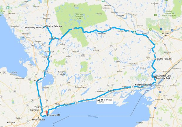 The Map Of Our Weekend Ontario Road Trip