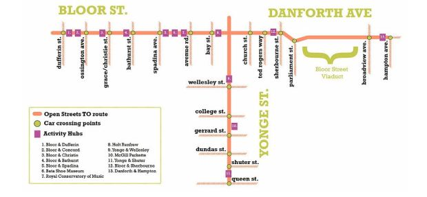 Open Streets Toronto - September 18, 2016, 10:00 AM - 2:00 PM. (Map courtesy, Open Streets Toronto)