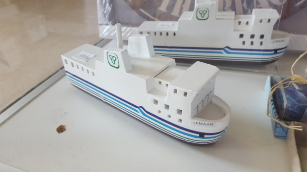 Wooden models of JIIMAAN found in the ferry's gift shop.