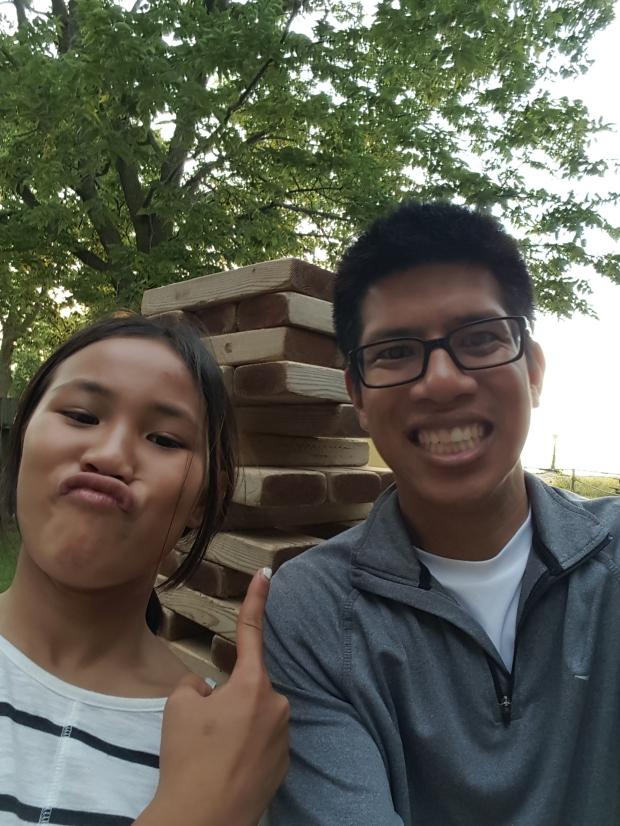 Selfie with my girlfriend's niece in front of the JENGA!  It was almost as tall as me!
