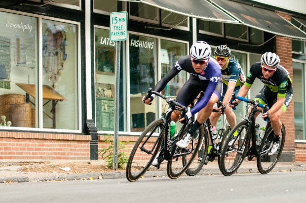 """Racers preparing to enter Turn #3"" Amateur Mens Race, 2016 Thompson Bucks County Classic, Doylestown, PA"